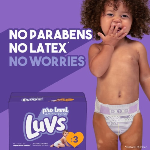 Luvs Pro Level Leak Protection Size 5 Diapers Jumbo Pack Perspective: top