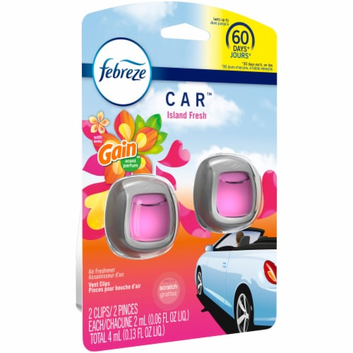 Febreze Car Odor-Eliminating Air Freshener Vent Clips with Gain Scent Island Fresh Perspective: top