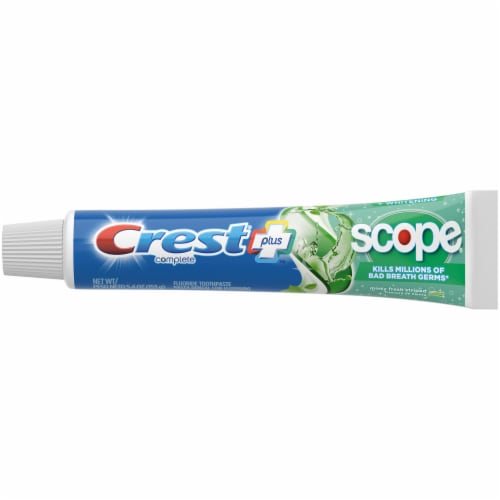 Crest Complete Plus Scope Minty Fresh Striped Whitening Fluoride Toothpaste Value Pack Perspective: top