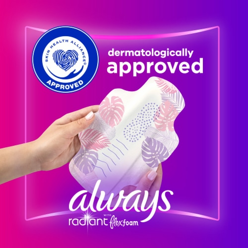 Always Radiant FlexFoam Size 1 Scented Regular Absorbency Pads with Wings Perspective: top