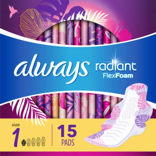 Always Radiant Size 1 Regular Light Clean Scent Pads with Flexi-Wings Perspective: top