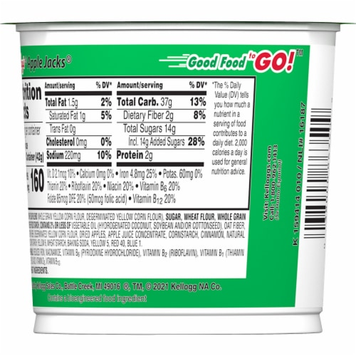 Kellogg's Apple Jacks Breakfast Cereal in a Cup Original Perspective: top