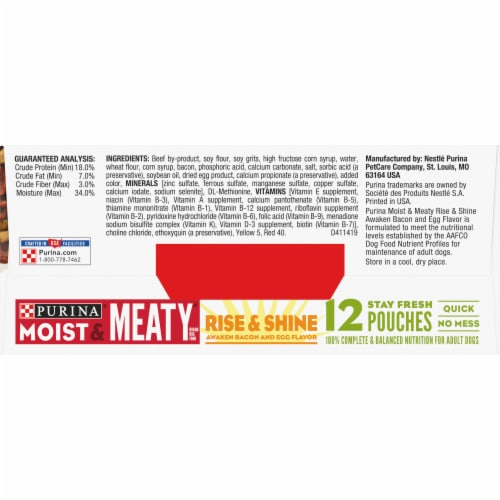 Moist & Meaty Rise & Shine Awaken Bacon & Egg Flavor Wet Dog Food 12 Count Perspective: top