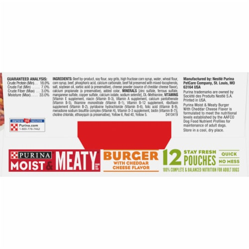 Moist & Meaty Burger with Cheddar Cheese Flavor Dry Dog Food Pouches 12 Count Perspective: top