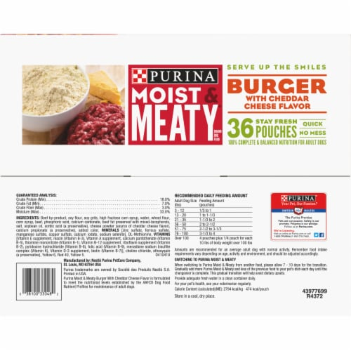Moist & Meaty Burger with Cheddar Cheese Flavor Dry Dog Food Stay Fresh Pouches Perspective: top