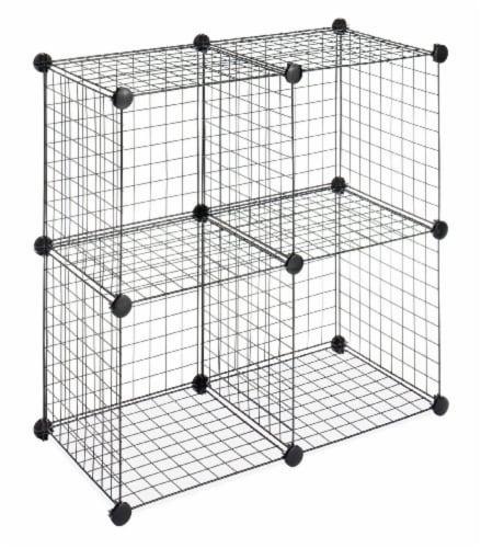 Whitmor 4 Interlocking Storage Cubes - Black Perspective: top