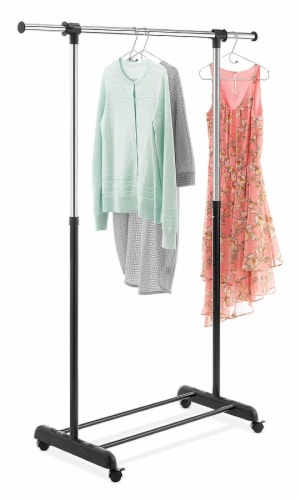 Whitmor Chrome Deluxe Extendable Garment Rack - Ebony/Silver Perspective: top