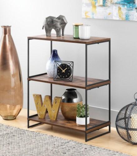 Whitmor Modern Industrial 3-Tier Shelves - Black/Brown Perspective: top