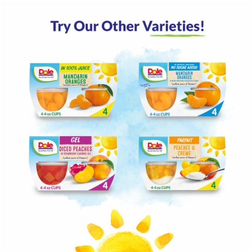 Dole® No Sugar Added Yellow Cling Diced Peach Cups Perspective: top