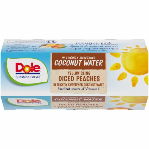 Dole Diced Peaches in Sweetened Coconut Water Perspective: top