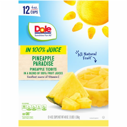 Dole Pineapple Paradise in 100% Juice Fruit Tidbits Perspective: top