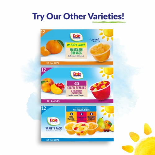Dole® Diced Peaches in 100% Fruit Juice Cups Perspective: top