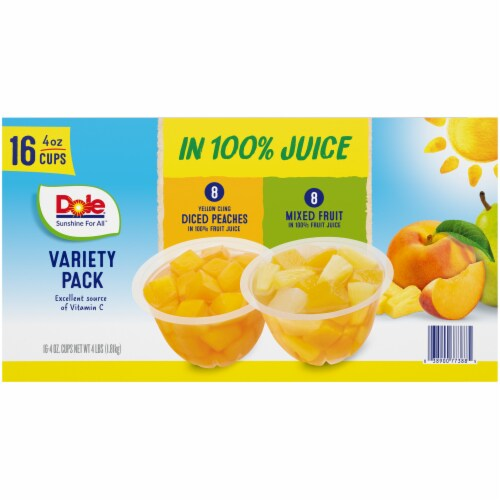 Dole Diced Peaches & Mixed Fruit in 100% Fruit Juice Cups Perspective: top