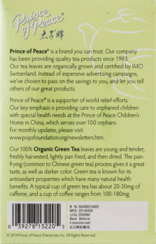 Prince of Peace 100% Organic Green Tea Bags Perspective: top