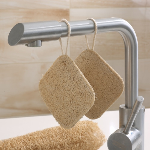 Grand Fusion Biodegradable Heavy Duty Non Scratch Dish Scrubber Pads - 3 Pack Perspective: top