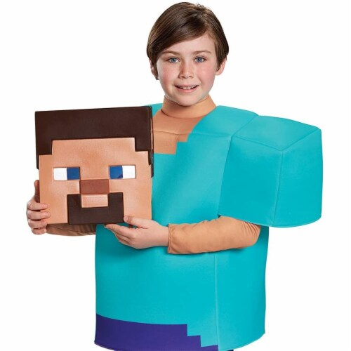 Disguise Steve Classic Minecraft Costume, Multicolor, Small (4-6) Perspective: top