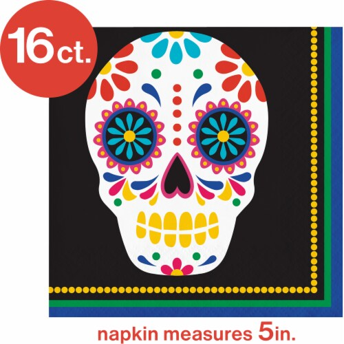 Creative Converting Day of the Dead Beverage Napkins Perspective: top