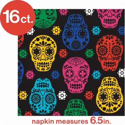 Creative Converting Day of the Dead Lunch Napkins Perspective: top