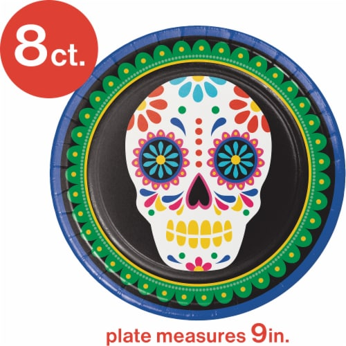 Creative Converting Day of the Dead Plates Perspective: top