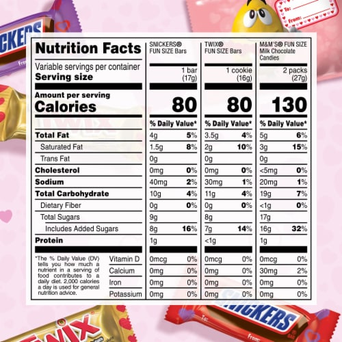 SNICKERS TWIX M&M'S Assorted Valentines Chocolate Candy Bag Perspective: top