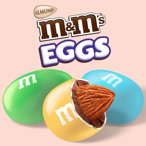 M&M'S Almond Chocolate Egg Shaped Easter Candy Bag Perspective: top