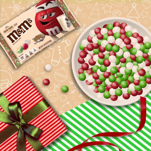 M&M'S Holiday White Chocolate Sugar Cookie Christmas Candy Perspective: top