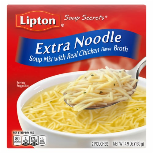 Lipton Soup Secrets Instant Extra Noodle Soup Mix with Real Chicken Broth Perspective: top