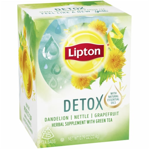 Lipton Detox Dandelion Nettle Grapefruit Green Tea Bags Perspective: top