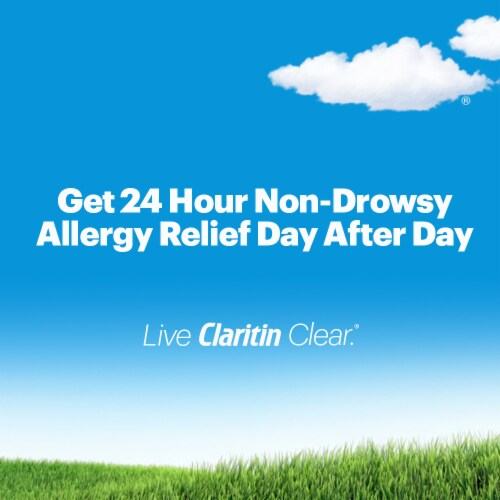 Children's Claritin 24 Hour Non-Drowsy Indoor & Outdoor Allergy Relief Grape Liquid Syrup Perspective: top