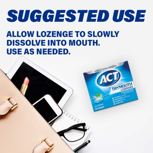 ACT Soothing Mint Dry Mouth Lozenges with Xylitol Perspective: top