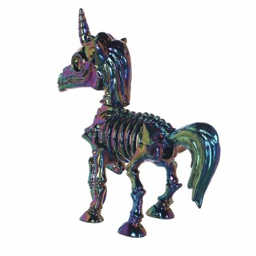 Holiday Home Unicorn Skeleton Figure - Gun Metal Perspective: top