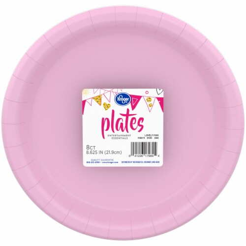 Kroger Entertainment Essentials Paper Plates - 8 Pack - Lovely Pink Perspective: top