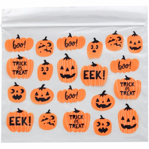 Holiday Home™ Pumpkin Resealable Treat Bags - 20 Pack Perspective: top