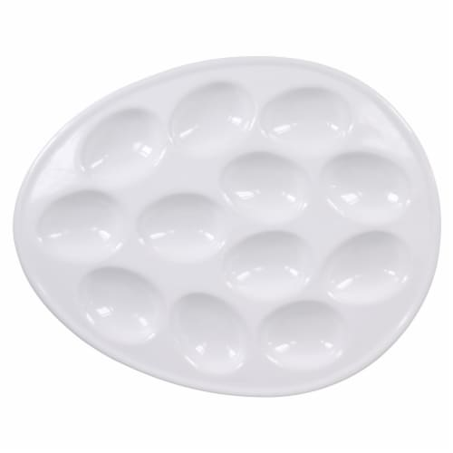 Dash of That™ Oval Egg Plate - White Perspective: top