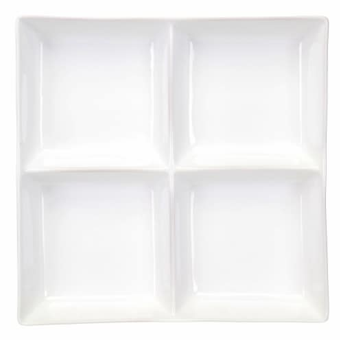 Dash of That™ Broadway Divided Square Serving Dish - White Perspective: top