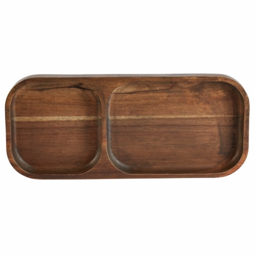 Dip 2-Section Wood Tray - Brown Perspective: top