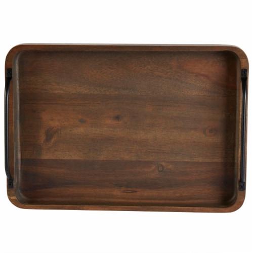 Dip™ Metal Handled Wood Tray - Brown/Black Perspective: top