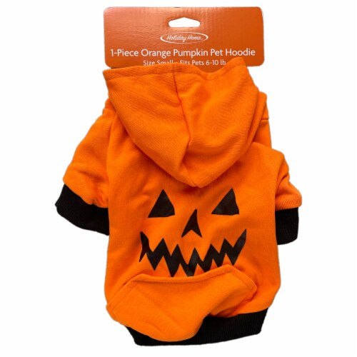 Holiday Home Pumpkin Small Pet Hoodie Perspective: top