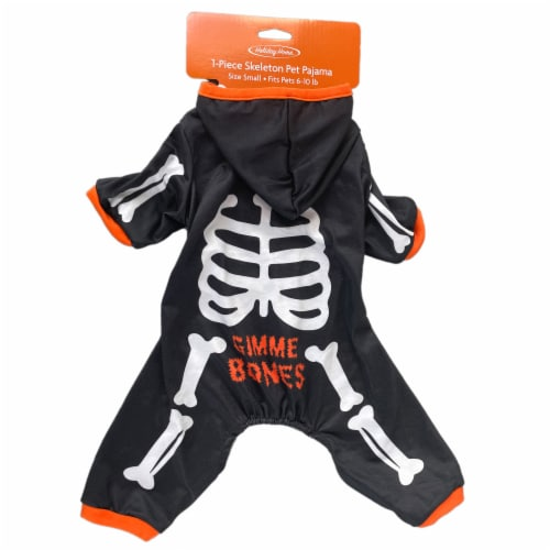 Holiday Home Skeleton Hoodie Small Pet Costume Perspective: top