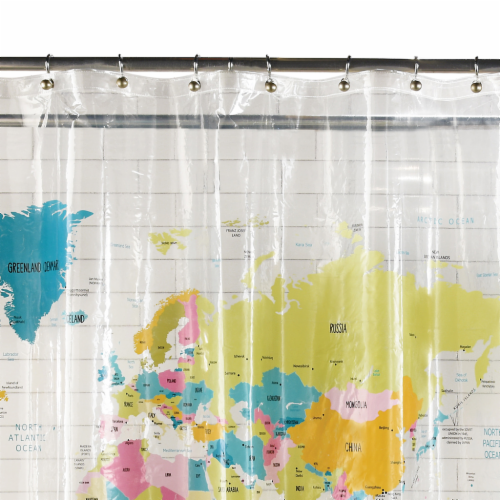 Everyday Living World Map PEVA Shower Curtain Perspective: top