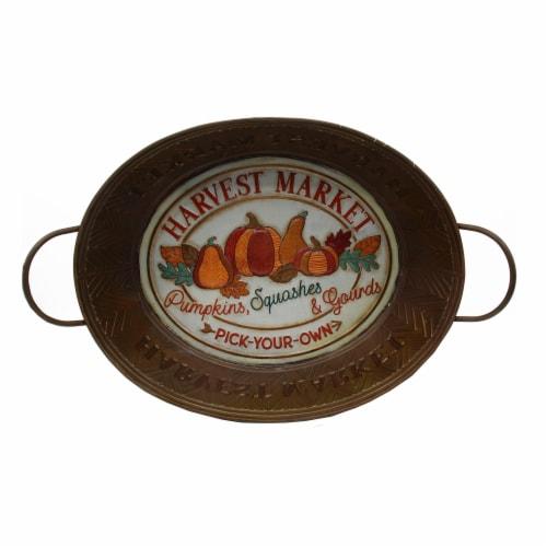 Holiday Home Metal Harvest Market Bucket - Copper Perspective: top