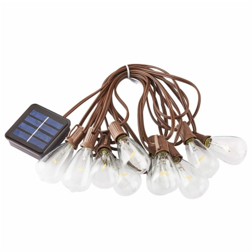 HD Designs Outdoors 10-Bulb Solar LED String Lights - Clear Perspective: top