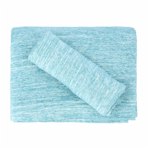 Everyday Living Jersey Sheet Set – 4 Piece - Spacedye Turquoise Perspective: top