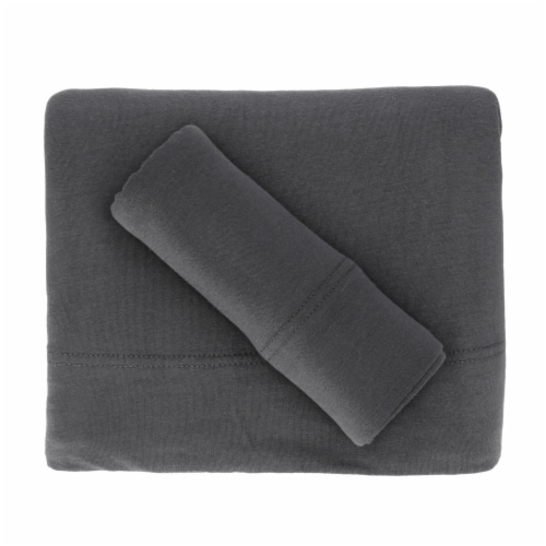 Everyday Living Jersey Sheet Set - Charcoal Perspective: top