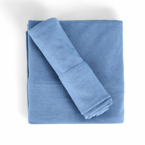 Everyday Living Jersey Sheet Set - Coronet Blue Perspective: top