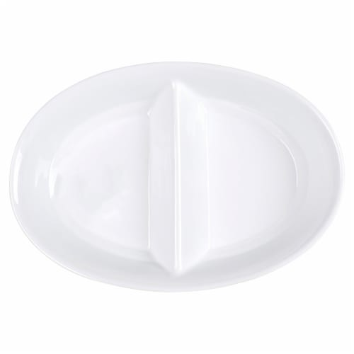 Dash of That Divided Oval Serving Bowl - White Perspective: top