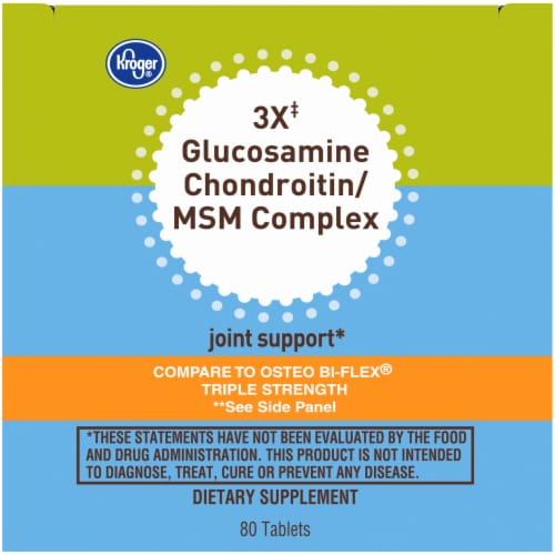 Kroger® 3X Glucosamine Chondroitin/MSM Complex Joint Support Dietary Supplement Tablets Bottle Perspective: top