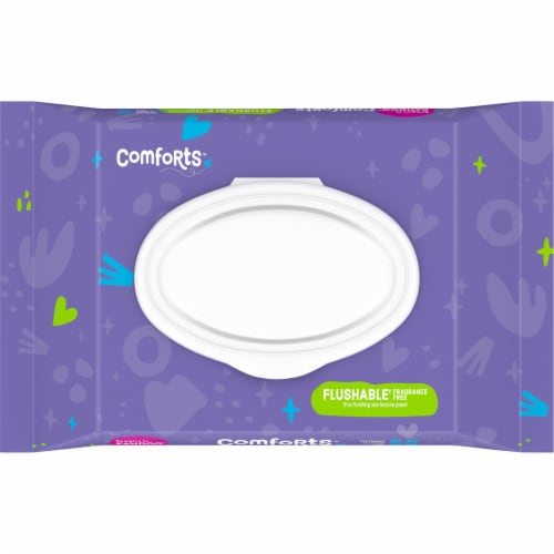Comforts™ Fragrance-Free Flushable Wipes Perspective: top