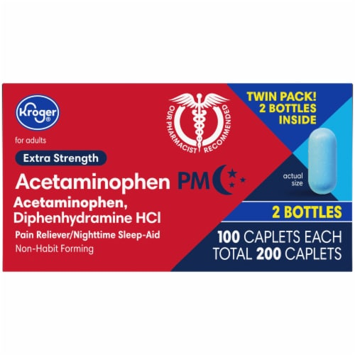 Kroger® Extra Strength Acetaminophen PM Caplets Twin Pack Perspective: top