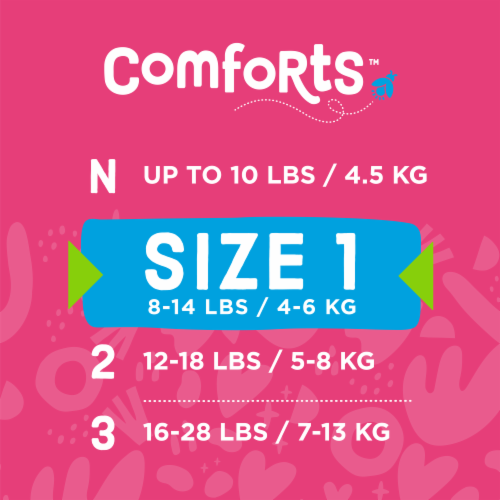 Comforts™ Size 1 Day or Night Diapers Perspective: top